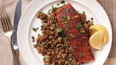 North African Spiced Salmon Over French Lentils - Recipe - Finecooking - Roland Jenkins - African Food Lentil Recipes, Fish Recipes, Seafood Recipes, Dinner Recipes, Salmon Recipes, Cooking Recipes, Roasted Cornish Hen, Asian Seasoning, African Spices