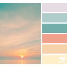 Draw inspiration from the beach. For most of us, this is our happy place. So why not create this happy place in our home! Use this color palette as inspiration for your coastal themed decor in your home. { color set } image via: (Apr Living Room Color Schemes, Colour Schemes, Color Combos, Color Trends, Beach Color Schemes, Coastal Color Palettes, Sunset Colors, Pastel Sunset, Color Harmony
