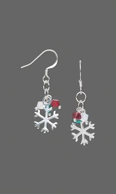 Earrings with Swarovski Crystal Beads and Sterling Silver Snowflake Charms - Fire Mountain Gems and Beads