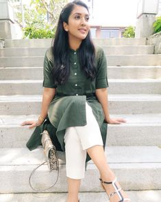 Image may contain: 1 person, sitting, shoes and outdoor Kurta Designs Women, Blouse Designs, Printed Kurti Designs, Casual Indian Fashion, Casual Dresses For Women, Clothes For Women, Kurti Styles, Kurti Collection, Indian Celebrities