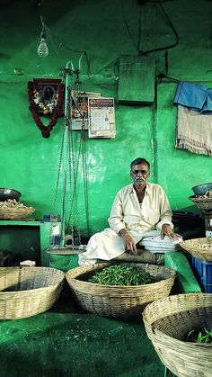 A green chili vendor. India.   #speciality #OnlyinIndia