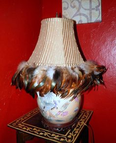 Vintage Feathered Quality Lamp shadeultra cool by TheDecoHotel, $50.00