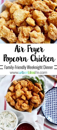 Air Fryer Popcorn Chicken: Make Once, Eat Twice Recipe - Make Once, Eat Twice Recipe on UrbanBlissLIfe.com. Perfect for weeknight family dinners and for Game Day bites! #airfryer #chicken #recipe #foodblog #gameday #weeknightdinner #airfryerchicken #chickenrecipe