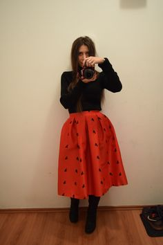 frog invasion  midi skirt red autumn look