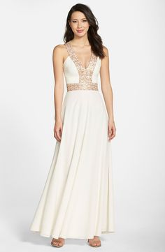 Dress the Population 'Delani' Sequin Crepe Gown
