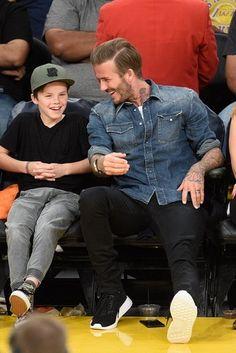 David Beckham - With his two sons Cruz & Romeo at the Lakers vs. Boston Celtics game