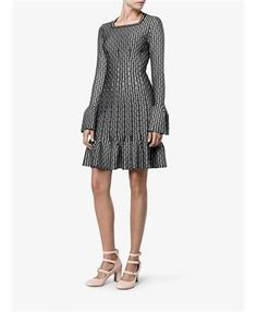 AZZEDINE ALAÏA - Square Neck Dress with Fluted Hem and Cuffs