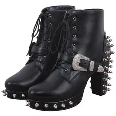 Blondell Gothic Boot ($185) ❤ liked on Polyvore featuring shoes, boots, vegan shoes, gothic boots, faux leather boots, vegan boots and goth boots