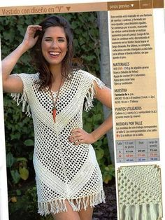 This Pin was discovered by Adr Tina's handicraft : mesh summer dress with ideas crochet clothes for women summer tops kids if you are looking for a crochet blusas Crochet Tunic, Crochet Clothes, Crochet Lace, Crochet Books, Crochet Stitch, Crochet Cover Up, Crochet For Kids, Moda Boho, Tunic Pattern
