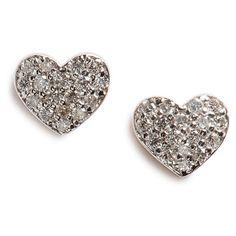 kismet by milka 'Bidik' Heart Diamond Stud Earrings ($1,060) ❤ liked on Polyvore featuring jewelry, earrings, rose gold, 14 karat gold stud earrings, heart shaped earrings, stud earring set, post earrings and diamond earrings