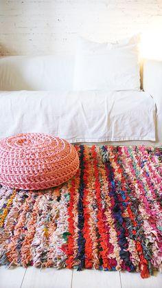 """Image of Vintage Moroccan Rag Rug - BOUCHEROUITE  """"color"""""""