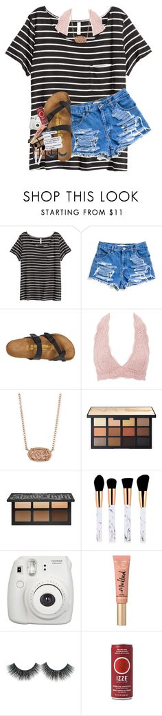 """HBD ELLA"" by lindsaygreys ❤ liked on Polyvore featuring H&M, Birkenstock, Charlotte Russe, Kendra Scott, NARS Cosmetics, Kat Von D, Fujifilm and Too Faced Cosmetics"