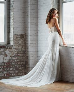 Style 7852 Pippin Ti Adora by Allison Webb bridal gown - Ivory / Cashmere lace trumpet bridal gown. Sweetheart neckline with spaghetti straps and ribbon at natural waist. Low point d'esprit illusion back and English net godets throughout the skirt. Outdoor Wedding Dress, Fall Wedding Dresses, Designer Wedding Dresses, Gown Wedding, Lace Wedding, Bridal Gown Styles, Bridal Gowns, Bridal Style, Allure Bridesmaid Dresses