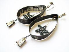 Twinkle. Rustic Assemblage Earrings. Gypsy Grey Found Object Monochromatic