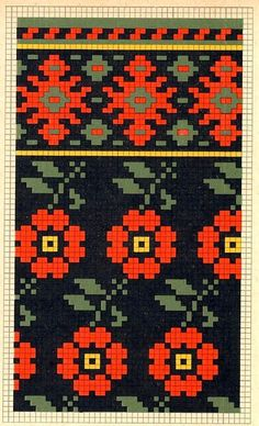 Folk knitting fair isle flower floral chart etno:
