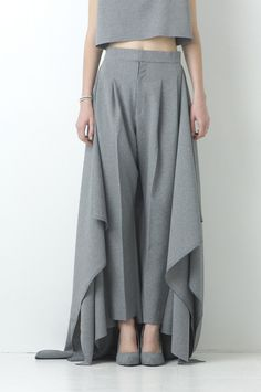 "004_ Gray Peg-top Trousers from the ""2→3"" collection by Japanese fashion designer Natsumi Zama (b.1984). via the designer's site"