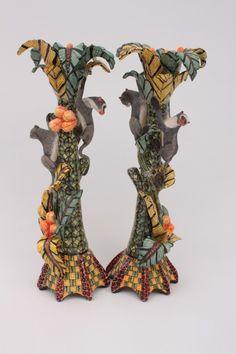 Monkey Candlesticks Pair by Ardmore Ceramics | Ceramics Artwork | Fine Art Portfolio