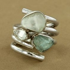 Herkimer Diamond & Aquamarine Four Row Ring by Lilly Barack - Fire and Ice