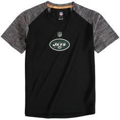 New York Jets Youth Magna Peak Raglan T-Shirt - Black/Heathered Gray - $34.99