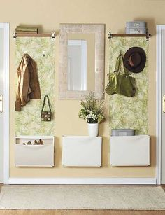 hat-and-coat rack with mirror and wallpaper (IKEA)
