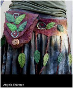 grimm and fairy elfish , hippy , pagan festival travelling fashion essential pixie pockets Forest Dweller Rustic Nature Leafy Belt Bag Hand Felted Nuno Felting, Needle Felting, Do It Yourself Jewelry, Ideias Diy, Hip Bag, Felt Art, Fabric Art, Felt Crafts, Wearable Art