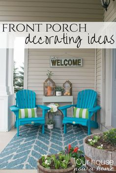 Spring front porch decorating ideas. These DIY wood Adirondack chairs painted a bold teal add the perfect pop of color for this small front porch. The porch is decorated in bold colors and textures, mixed with green and blue and a touch of nature. Creating a relaxing outdoor space.