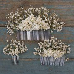 Boho pureté séché peigne à cheveux fleur