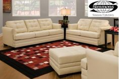 Manhattan Cardinal Sofa in Red, Cream and Brown....Sofa Only $498 Loveseat .Only $448 Sleeper Sofa  Only $698