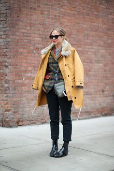 A persisting winter issue is going from a chilly outside to a toasty inside. Solve the problem by topping your outfit with a jacket draped over the shoulders for easy on-and-off.   - HarpersBAZAAR.com