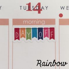 """1.5"""" day off banner stickers to fit in the weekly boxes of your ECLP/Happy planner. 32 stickers per sheet. The Sassy Planner's stickers are digitally printed on high-quality matte white VINYL, giving"""