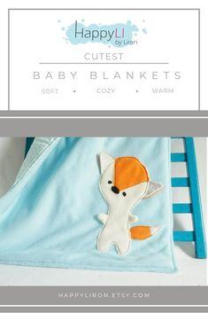 Light Blue Baby Blanket with Fox, Cute Stroller Blanket, Fox Blanket for Babies, Winter Blanket for the Crib, Baby Boy Gift, Baby Shower Boy #babyshower #happyli #giftforbaby #babyblanket