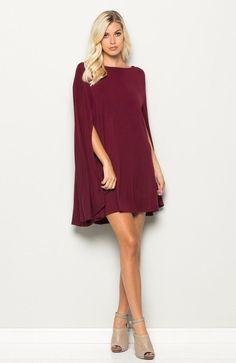 0bc915077146 Romance Cape Dress in Burgundy