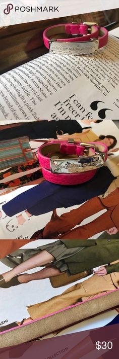 Marc by Marc Jacobs leather bracelet * plaque double wrap leather Id Bracelet | pop pink silver * pre loved, in very good condition  * some sign of wear | take a look at the photo | the leather has patina * all photos are mine Marc by Marc Jacobs Jewelry Bracelets