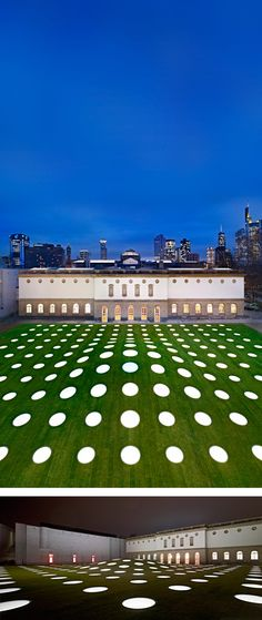 """Städel Museum / """"The 195 skylights peering out of the lawn define the appearance of the new extension to the Städel Museum. They lie on the grass like flat lenses and transmit daylight into the 3,000-square-meter exhibition hall under the garden."""" -- from stylepark"""