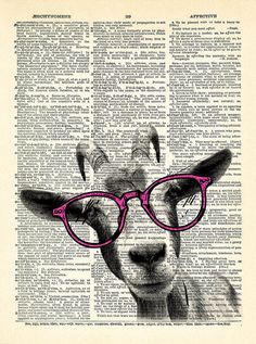 Коза Hipster очки словарь Искусство печати Коза с PrintsVariete