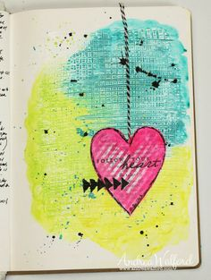 Follow Your Heart Art Journal Page - video tutorial at: http://andreawalford.com/art-journal-express-4-video-tutorial-follow-your-heart-art-journal-page