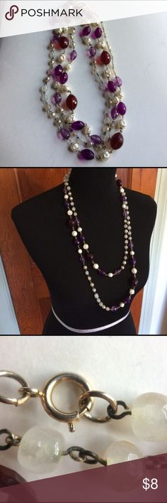 Vintage extra long beaded necklace Vintage extra long synthetic pearl and faceted purple and red beaded necklace. Great costume or statement necklace. Can be 'folded' 2-3x into a multilayered necklace. I ship daily and am open to trades if you have one of my ISOs (listed in my closet). Will consider all offers! 20% off all bundles of 2+ items, always! Vintage Jewelry Necklaces