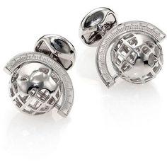 Tateossian Paraiba Topaz Stone Sterling Silver Cuff Links