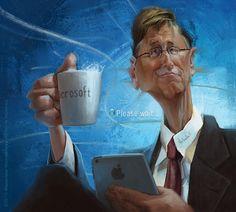 "CARICATURAS DE FAMOSOS: ""Bill Gates"" por Alexander Novoseltev"