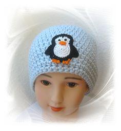 Häkelmütze Pinguin, Babymütze, gehäkelte Mütze, Häkelapplikation, penguin