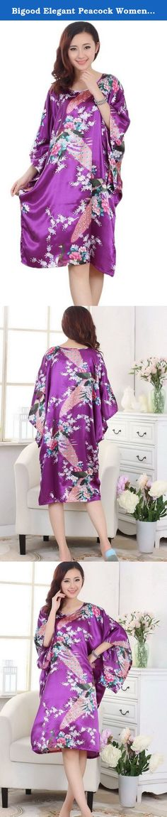 Bigood Elegant Peacock Women Pajamas Nightgown Sleepwear House Dress Red. Material:Rayon Just one Size Fit, Bust: 110cm,Length: 86cm. This is a very loose lady pajamas, rayon yarn, fabrics is comfortable, give you a no bondage night.Beautiful pattern,shows the beauty of a woman and sex appeal.