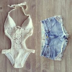 swimwear clothes summer shorts crochet hot pants lace swimwear high waisted shorts white, lace, one piece bathing suit, cotton bikini white lace indie hippie beach boho california one piece bathing suit white cutout lace swimsuit, outfit