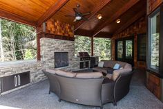 Covered outdoor living area with storage.