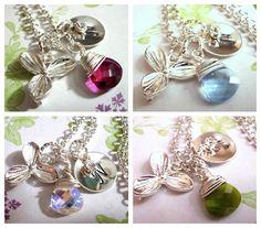 Silver Lily Necklace, Flower Necklace, Personalized Necklace, Swarovski Crystal Necklace, Wedding Jewelry, Bride Necklace. $25.00, via Etsy.