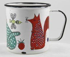 Vintage Finel Finland Enamelware Mug Orange Red Quail