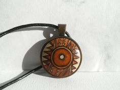 Original African Pendant Necklace Hand Painted Jewelry by ARTDORA, $29.00