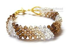 Simply Brown Shade Swarovski Crystal Bracelet with gold clasp by CandyBead