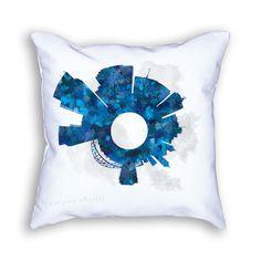 Corpus Christi Texas Small World Skyline Designer Throw Pillow, Corpus Christi Decor, Corpus Christi Skyline, Corpus Christi Cushion