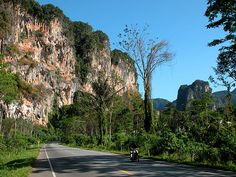 A Krabi road on the way to Ao Nang, Thailand