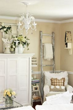 Beach Cottage style home decor in white; repurposed furniture, ladder, chandelier, armoire; small space storage; Upcycle, Recycle, Salvage, diy, thrift, flea, repurpose! For vintage ideas and goods shop at Estate ReSale & ReDesign, Bonita Springs, FL